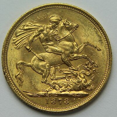 1878-M Great Britain .917 Gold Sovereign Victoria Young Head Horse & Dragon W031