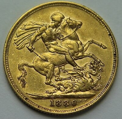 1880-M Great Britain .917 Gold Sovereign Victoria Young Head Horse & Dragon W020
