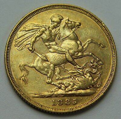 1885-S Great Britain .917 Gold Sovereign Victoria Young Head Horse & Dragon W018
