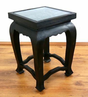 Asian Opium Coffee Table Elephant Carvings End Table Handmade in Thailand Black