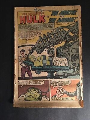 The Incredible Hulk #4  Marvel 1962  (Coverless)