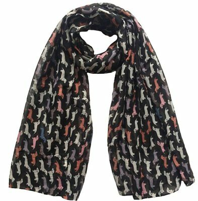 Dog Scarf - Dachshund dogs of various colours on black Approx 100cm Long