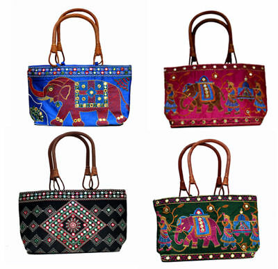 4pc Indian Ethnic Elephant Design Embroidered Work Wood Handle Wholesale Bags