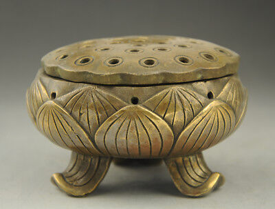 Old Chinese Temple brass lotus flower Hollow out Incense Burner Statue Figurine