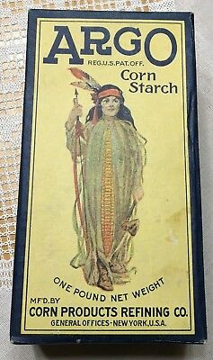 Vintage Unopened Argo Corn Starch Box With Indian Maiden In Good Condition