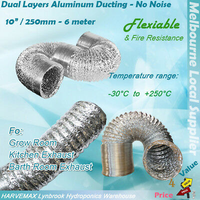 """10""""/ 250mm Flexible 6m Aluminum Ducting for Hydroponic Grow Tent Lamp Fan Duct"""