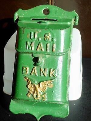 Old Still Cast Iron U.S. Mailbox Coin Bank Eagle