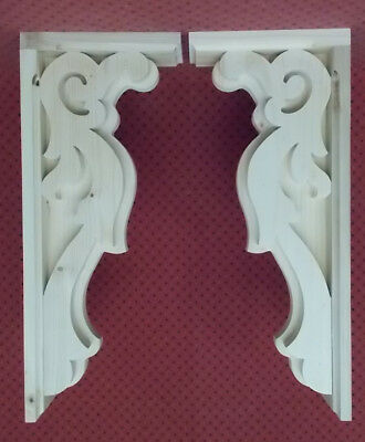 PAIR Vintage Design Wood Corbels.. 7 x 17-1/4 x 3