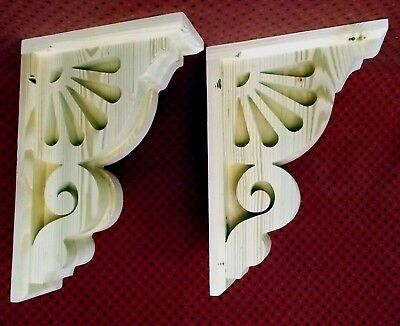 PAIR of Vintage Victorian Design Wood Corbels Shelf Brackets  8-1/2 x 12-1/2 x 3