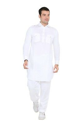 Indian Traditional  Bollywood Style White Pathan Suit