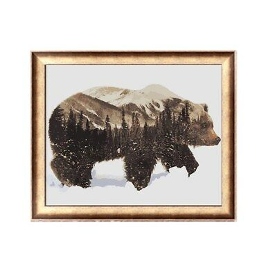 un/Framed Canvas Paint By Number Kit Painting Winter Snow Bear DIY Picture Art