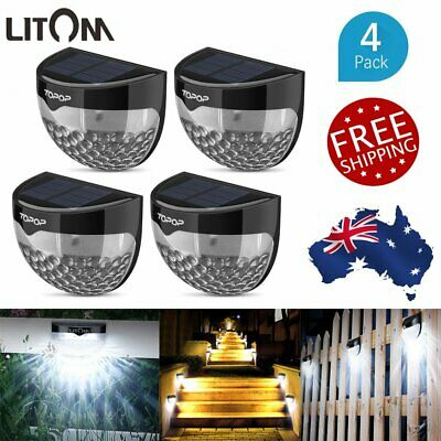 4 Pcs Litom Outdoor 6LEDs Solar Garden Lights Gutter Fence Path Wall Yard Lamp