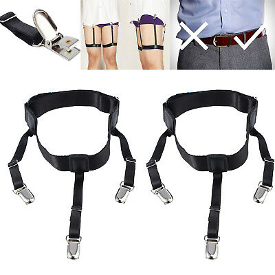 2x T Shirt Stays Holder Garters Suspenders Military Uniform Non-slip Locking AU