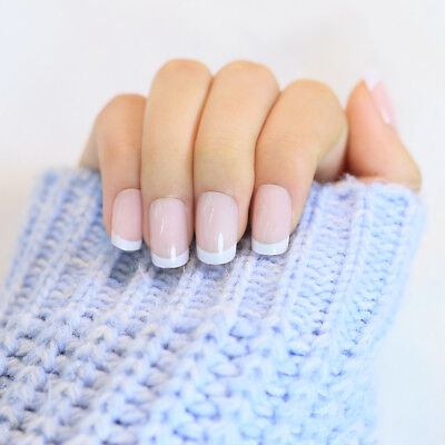 Fashion White French Nails 24 pcs Classical Full Cover Long Oval False Nails Set