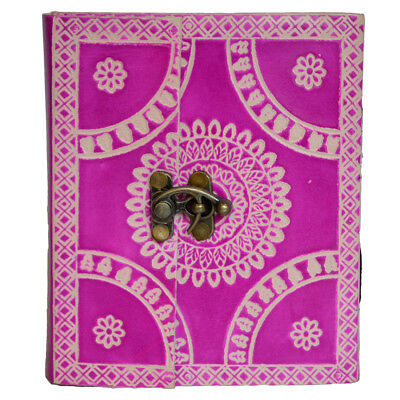 Indian Leather Vintage Hand-Painted Pink Floral Blank Thick Diary Mini Notebook