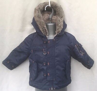 Next Baby Boys Navy Blue Faux Fur Lined Hooded Winter Parka Coat Age 3-6 Months
