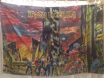 IRON MAIDEN Somewhere in Time FLAG CLOTH Army ranger signed by troops Germany