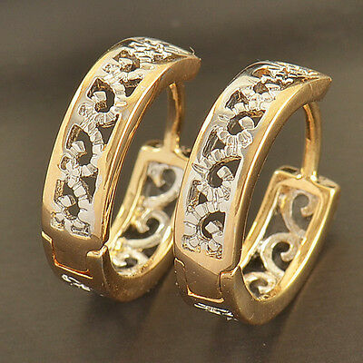 Toddler Childrens Girls Safety earings Kids openwork hoop earrings Gold filled