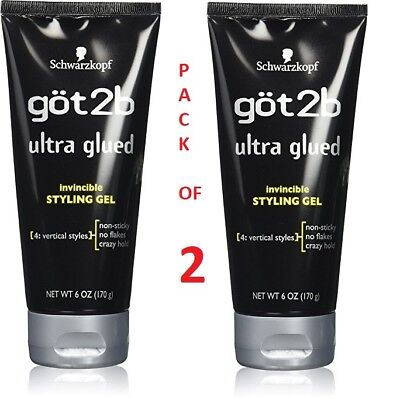 2 x Schwarzkopf Got2b Ultra Glued Invincible Styling Gel 4 Vertical Styles 170G