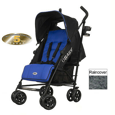 New Obaby Blue Zeal Baby Pushchair Stroller With Raincover From Birth
