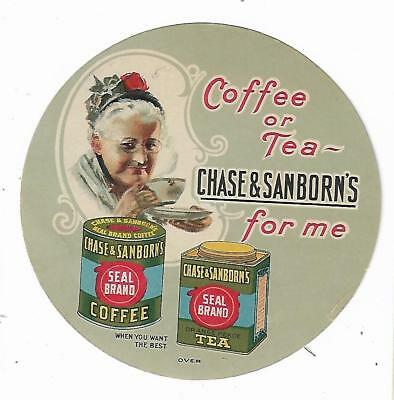 Old Die Cut Trade Card Chase & Sanborn Seal Brand Coffee Cake Recipes Old Woman