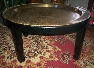 Antique Vintage Chinese Brass Table Tray Tea Or Coffee Table Handmade