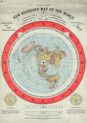 1892 Flat Earth Map Alexander Gleason Gleason's New Standard Map of the World