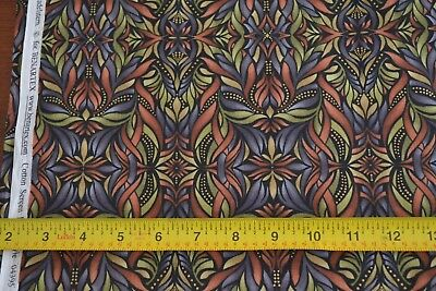 """By 1//2 Yd Christmas Ribbons on Green B71 Quilting Cotton 45/"""" Wide"""