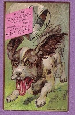 0317K Vtg Trade Card Hartman's Bookstore Ashland Pa Crazy Dog  Pail Tied To Tail