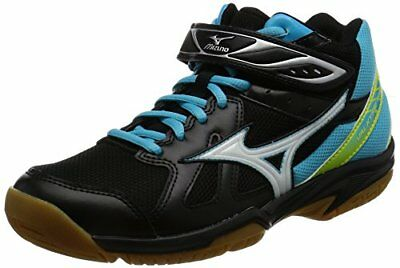 Mizuno Volleyball Shoes Valkyrie Wing MID Black ?? White ?? Light Blue US7/24.5