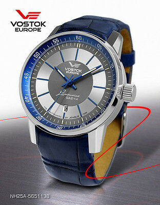 Vostok-Europe GAZ-14 Limo Automatic Dress Watch NH25A/5651138, Leather, Date