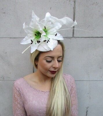 Large Cream Ivory Lily Feather Flower Hair Fascinator Hat Races Ascot Vtg 5034
