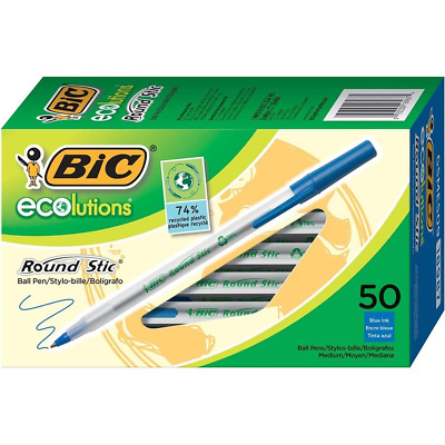BIC Ecolutions Round Stic Ballpoint Pen Medium Point Pencil 1.0mm Blue 50-Counts