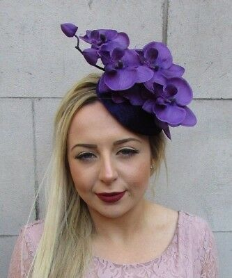 Dark Purple Orchid Flower Fascinator Races Ascot Pillbox Hat 1950s Velvet 5038