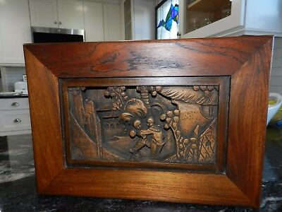 "Antique Rare Asian Solid Black Walnut Wood 3D Carving--15"" X 10"" X 3"""