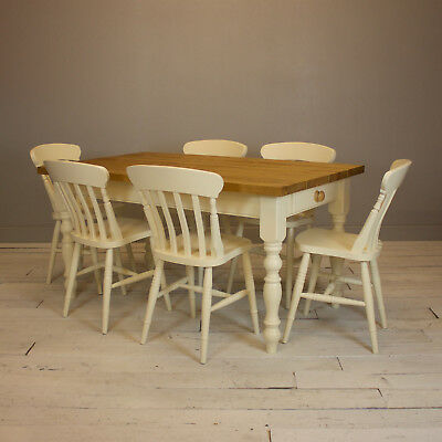 Rustic Plank Top Farmhouse Kitchen Dining Table Painted in Fawley Cream