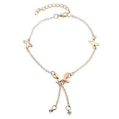 Lady 18K Rose Gold Plated Titanium Steel Crystal Anklet Butterfly Ankle Bracelet