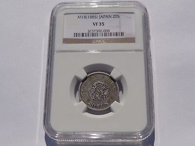 M18 (1885) Japan 20 Yen Silver Ngc Vf-35 No Reserve! Very Nice! Must See!!