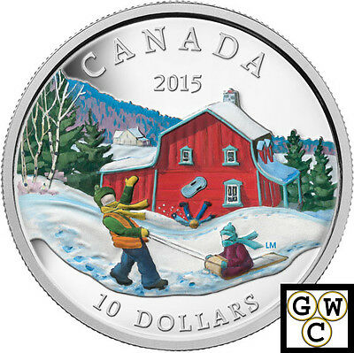 2015 'Winter Scene' Colorized Proof $10 Silver Coin 1/2oz .9999 Fine (14092)(NT)