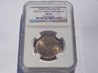 1968 Mw Poland 10 Zl People's Army Anniversary Ngc Ms-66 Super Nice! Must See!!