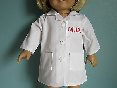 WHITE MD LAB SCRUB COAT - Great for Doctor Nurse Outfits fits American Girl