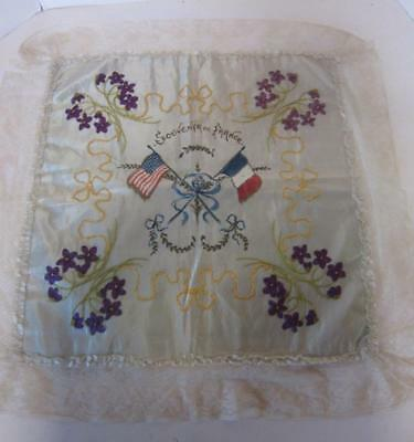 Antique WWI embrodiery Souvenir of France Silk  French Lace Trim 1918