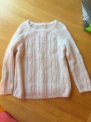 J. Crew Crewcuts Girl Pale Pink Cableknit Sweater Angora mix size 4 To 5