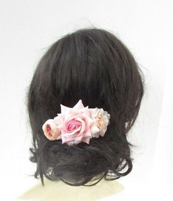Blush Light Pink Rose Flower Hair Comb Bridesmaid Fascinator Bridal Clip 5056