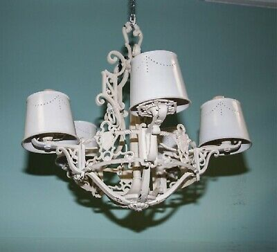 Vintage Antique White Chandelier Hanging Lamp With Neat Metal Candleabra Shades