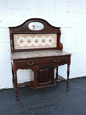 Victorian 1880's Two Part Tiled Marble Top Server Wash Stand Buffet  7371