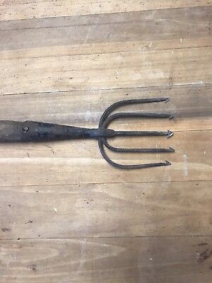 Antique Hand Forged Eel Spear Trident 5 Prong Original Handle Fishing Tool Old
