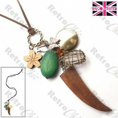 LARGE HORN PENDANT boho CHARM NECKLACE brown/green/natural WOOD vintage brass