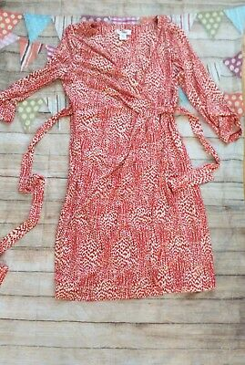 Motherhood Maternity Wrap Dress Red Ivory Small Floral Adorable Euc Small
