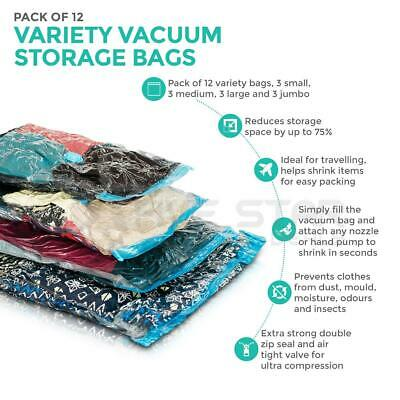 12 Variety Space Saving Storage Vacuum Bags Clothes Bedding Organiser Under Bed